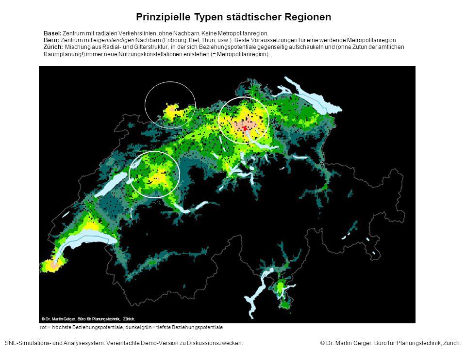 Prinzipielle Typen städtischer Regionen rot = höchste Beziehungspotentiale, dunkelgrün = tiefste Beziehungspotentiale Basel: Zentrum mit radialen Verkehrslinien, ohne Nachbarn.
