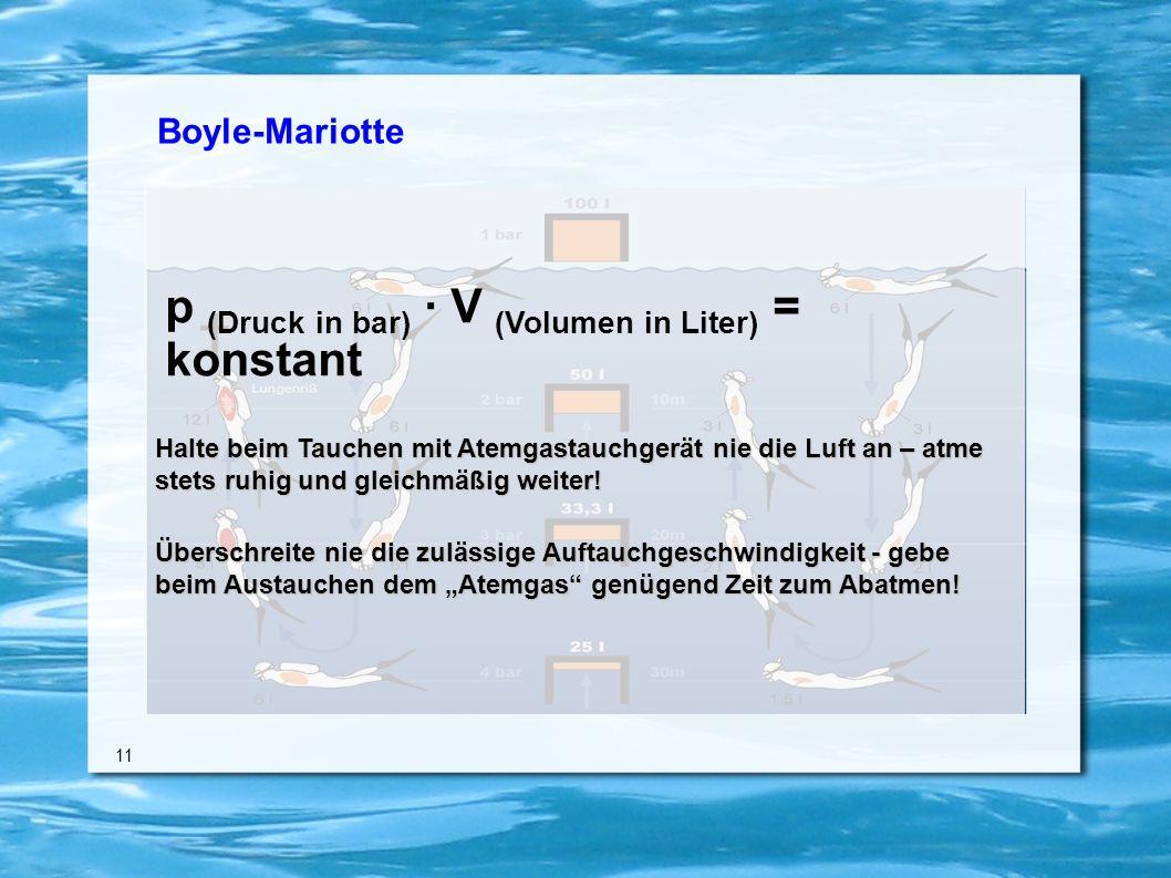 Boyle-Mariotte 11 Halte beim Tauchen mit Atemgastauchgerät nie die Luft an – atme stets ruhig und gleichmäßig weiter.