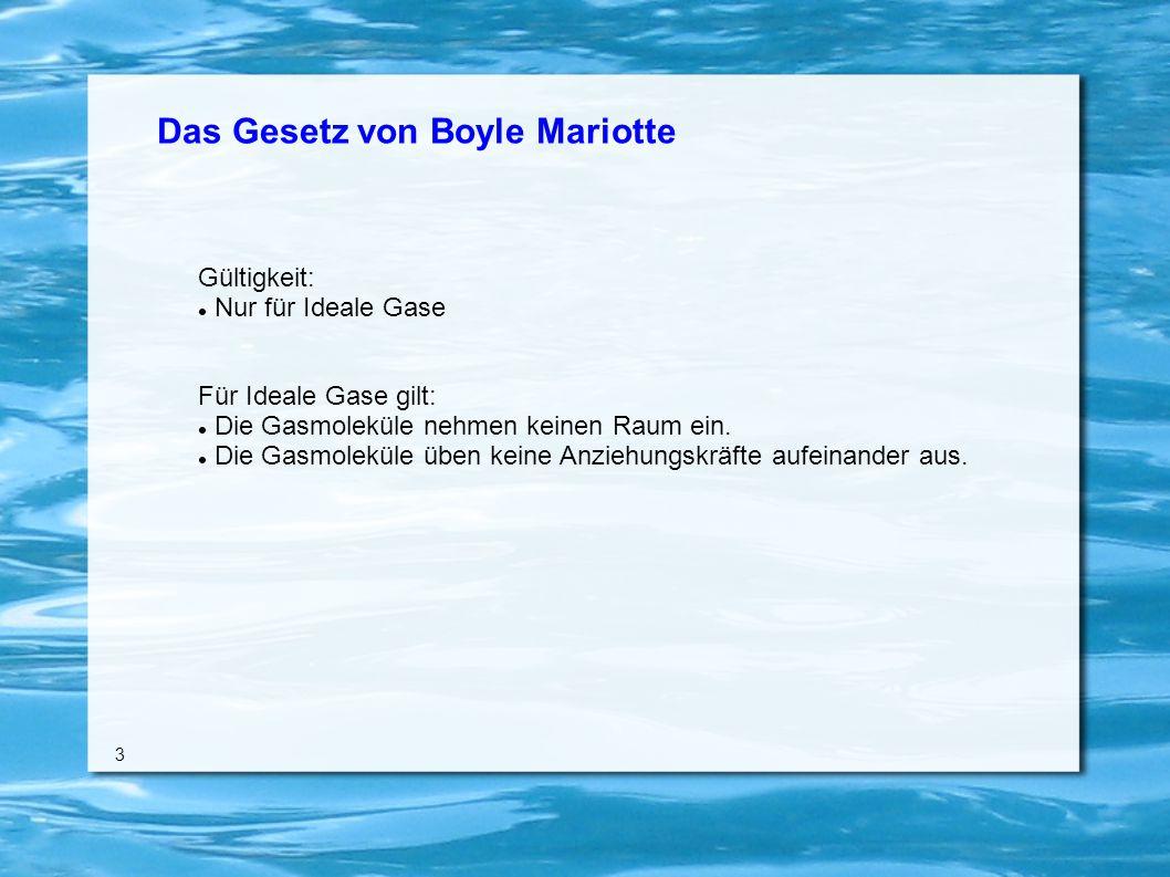 Das Gesetz von Boyle Mariotte Gültigkeit: Nur für Ideale Gase Für Ideale Gase gilt: Die Gasmoleküle nehmen keinen Raum ein.