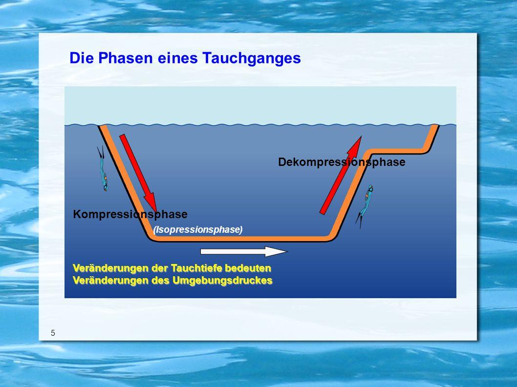 Die Phasen eines Tauchganges 5 Veränderungen der Tauchtiefe bedeuten Veränderungen des Umgebungsdruckes Kompressionsphase Dekompressionsphase (Isopressionsphase)