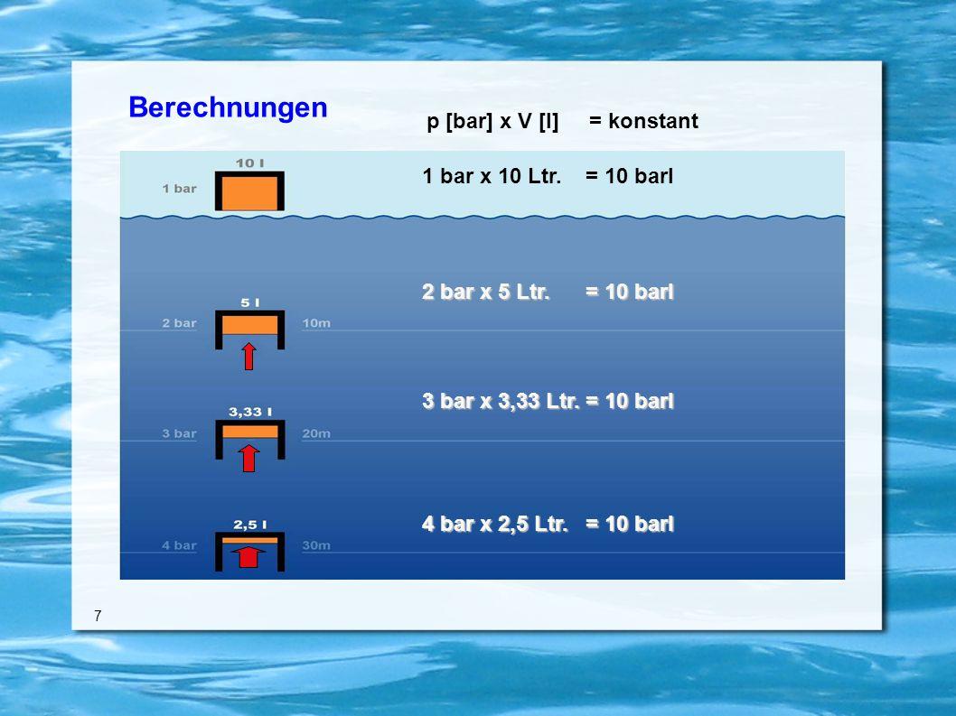 Berechnungen 7 1 bar x 10 Ltr. = 10 barl 2 bar x 5 Ltr.
