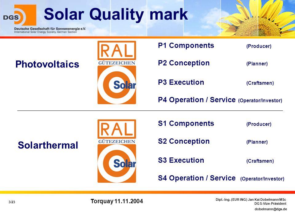 dobelmann@dgs.de 3/23 Dipl.-Ing. (EUR ING) Jan Kai Dobelmann MSc DGS-Vize-Präsident Torquay 11.11.2004 Solar Quality mark Photovoltaics Solarthermal P