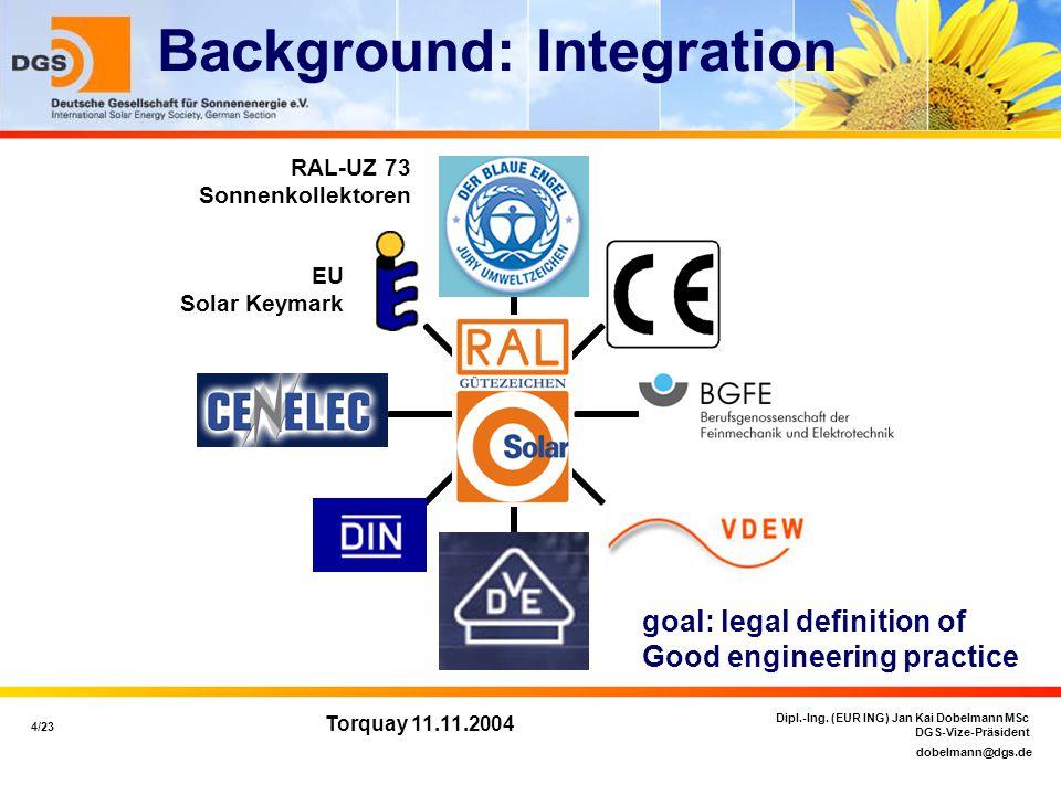 dobelmann@dgs.de 4/23 Dipl.-Ing. (EUR ING) Jan Kai Dobelmann MSc DGS-Vize-Präsident Torquay 11.11.2004 Background: Integration RAL-UZ 73 Sonnenkollekt