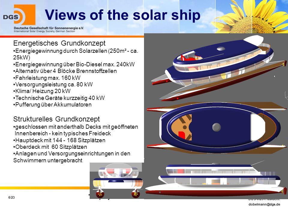 dobelmann@dgs.de 6/23 Dipl.-Ing. (EUR ING) Jan Kai Dobelmann MSc DGS-Vize-Präsident Torquay 11.11.2004 Views of the solar ship Energetisches Grundkonz