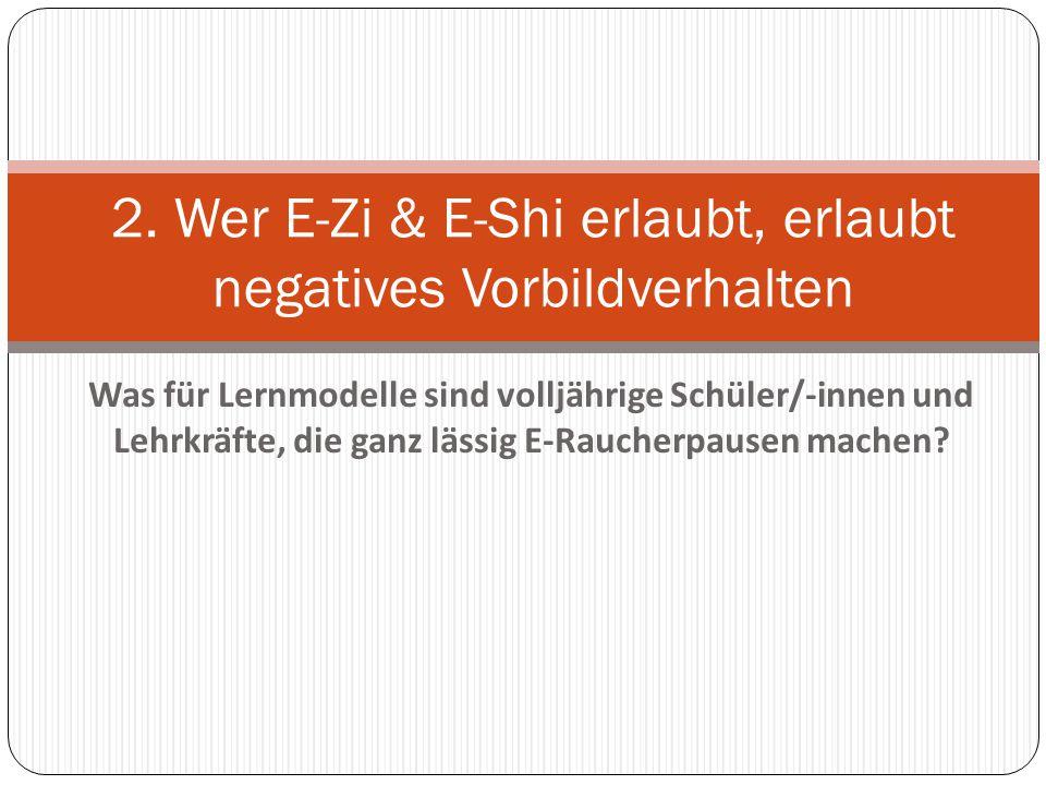 E-Zi & E-Shi können als Einstieg in den Nikotinkonsum dienen.