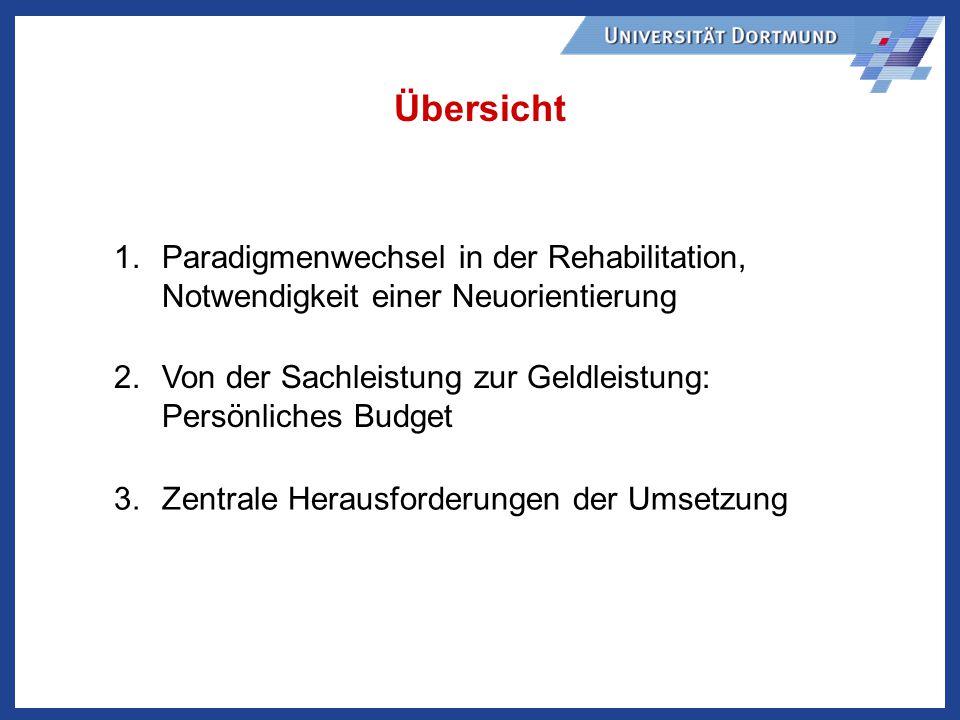 1.Paradigmenwechsel in der Rehabilitation, Notwendigkeit einer Neuorientierung 2.Von der Sachleistung zur Geldleistung: Persönliches Budget 3.Zentrale Herausforderungen der Umsetzung Übersicht