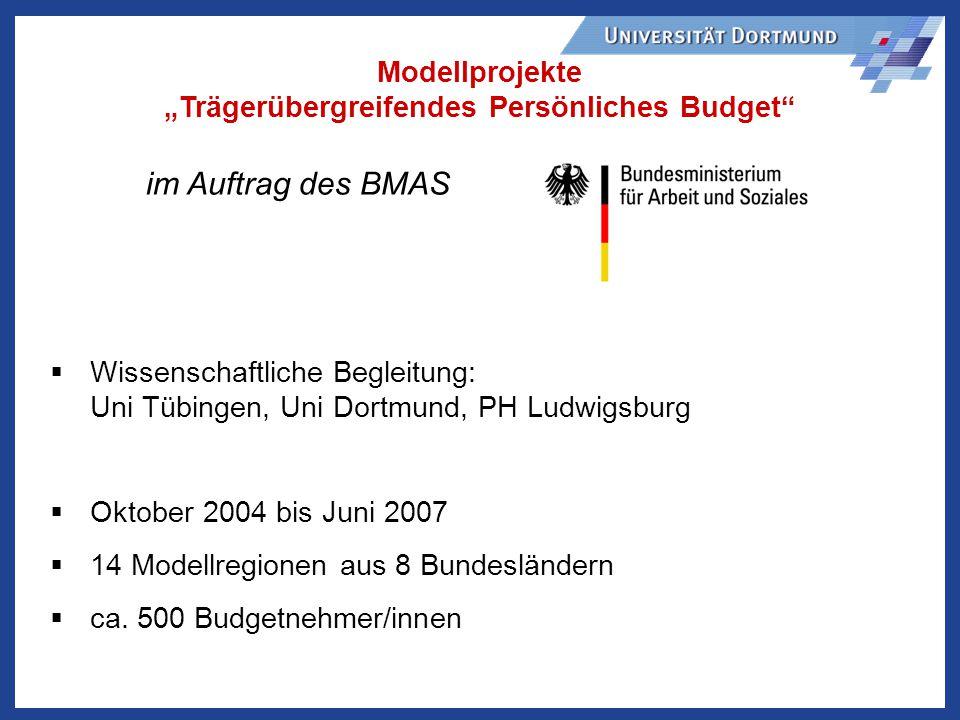 im Auftrag des BMAS Modellprojekte Trägerübergreifendes Persönliches Budget Wissenschaftliche Begleitung: Uni Tübingen, Uni Dortmund, PH Ludwigsburg Oktober 2004 bis Juni 2007 14 Modellregionen aus 8 Bundesländern ca.