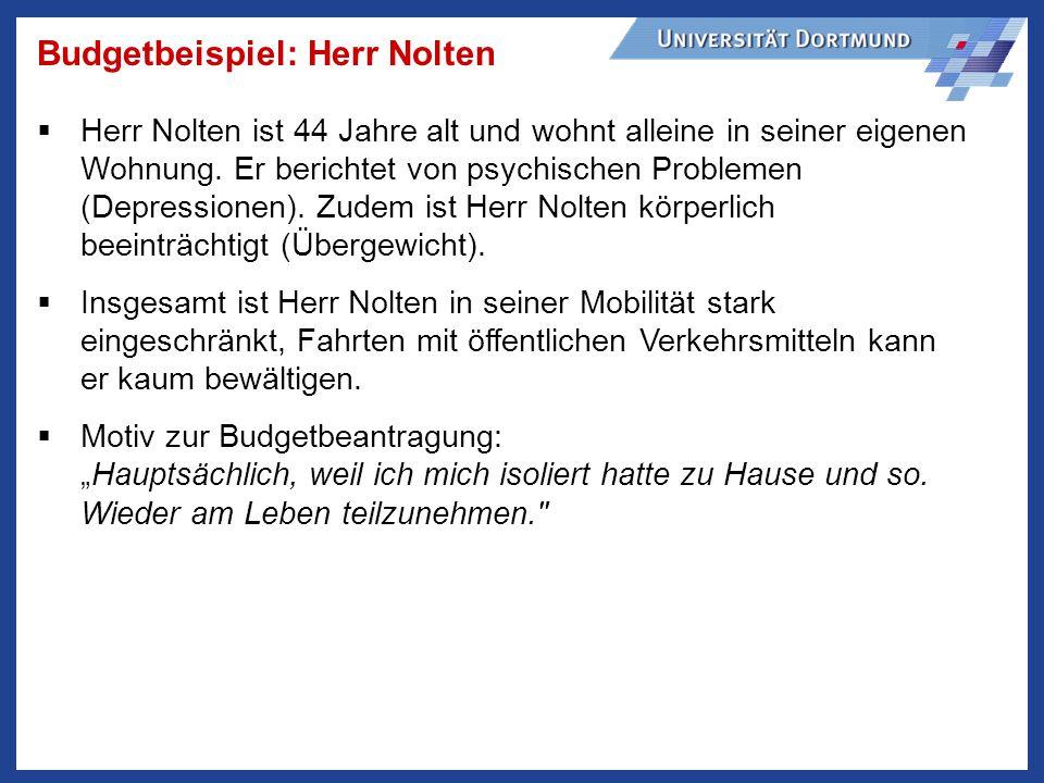 Budgetbeispiel: Herr Nolten Herr Nolten ist 44 Jahre alt und wohnt alleine in seiner eigenen Wohnung.