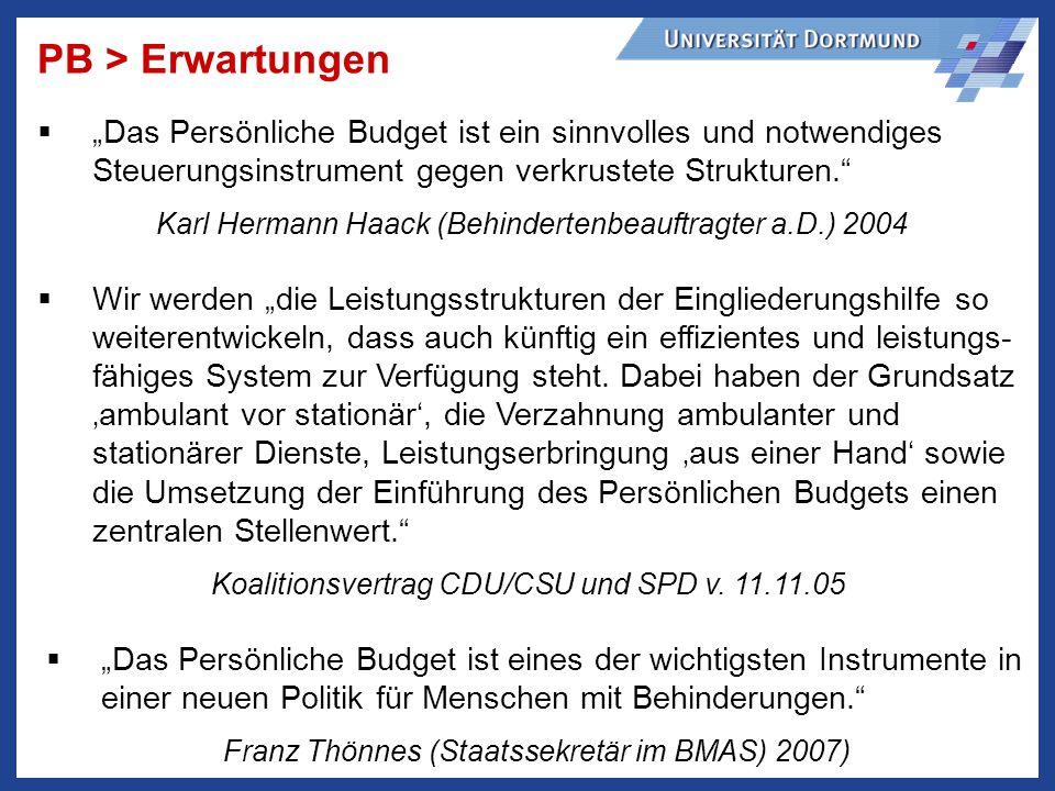 PB > Erwartungen Das Persönliche Budget ist ein sinnvolles und notwendiges Steuerungsinstrument gegen verkrustete Strukturen.