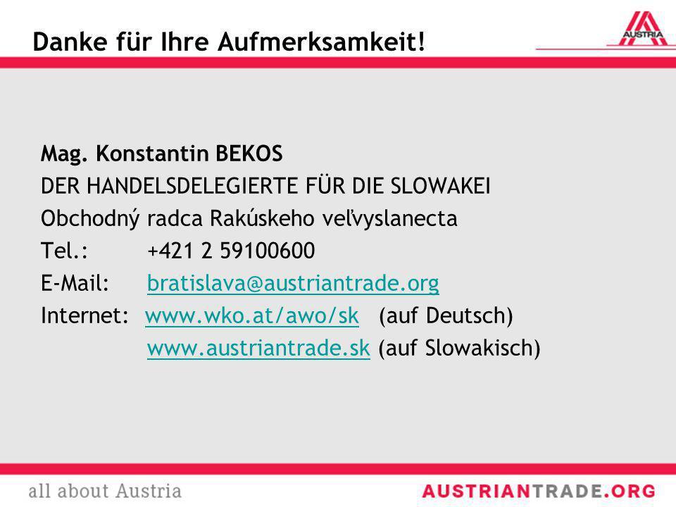 Mag. Konstantin BEKOS DER HANDELSDELEGIERTE FÜR DIE SLOWAKEI Obchodný radca Rakúskeho veľvyslanecta Tel.: +421 2 59100600 E-Mail: bratislava@austriant