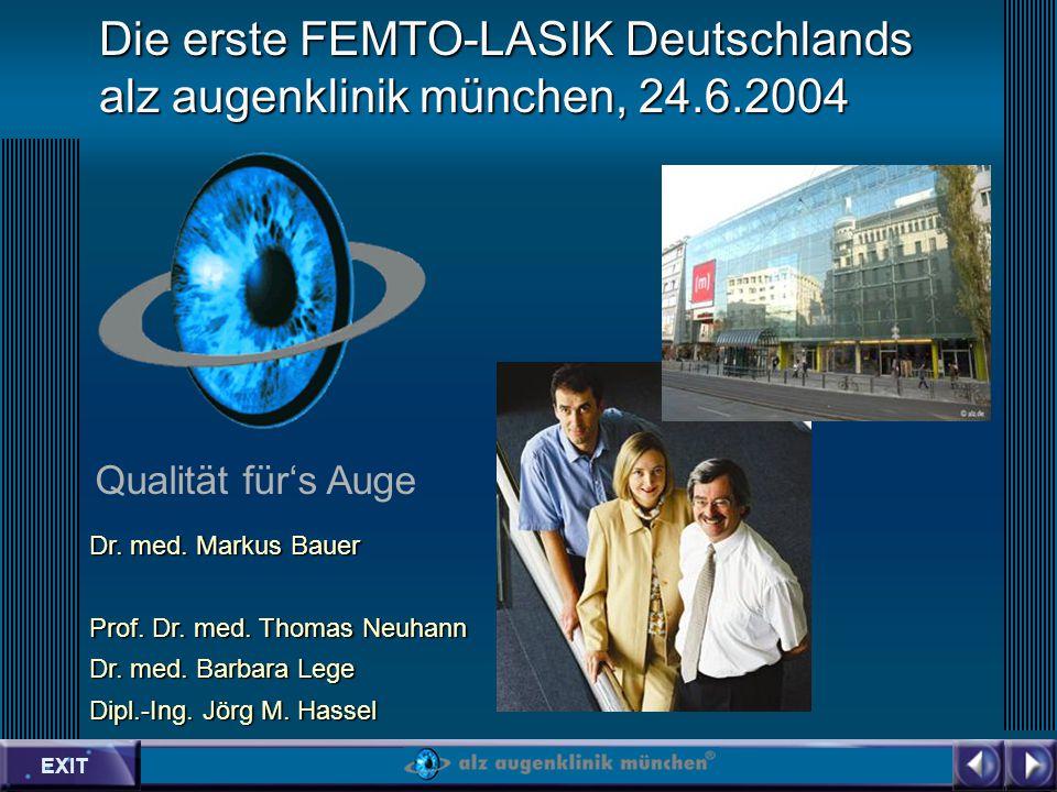 EXIT Qualität fürs Auge Die erste FEMTO-LASIK Deutschlands alz augenklinik münchen, 24.6.2004 Dr.