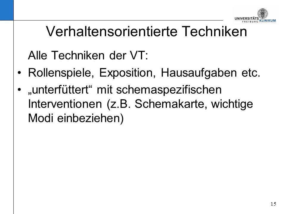 15 Verhaltensorientierte Techniken Alle Techniken der VT: Rollenspiele, Exposition, Hausaufgaben etc. unterfüttert mit schemaspezifischen Intervention