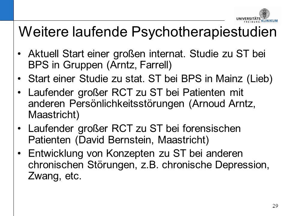 29 Weitere laufende Psychotherapiestudien Aktuell Start einer großen internat. Studie zu ST bei BPS in Gruppen (Arntz, Farrell) Start einer Studie zu