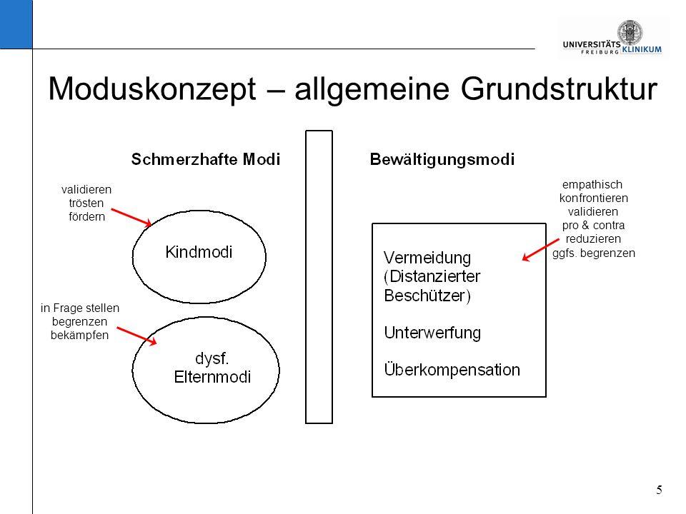 5 Moduskonzept – allgemeine Grundstruktur validieren trösten fördern in Frage stellen begrenzen bekämpfen empathisch konfrontieren validieren pro & co