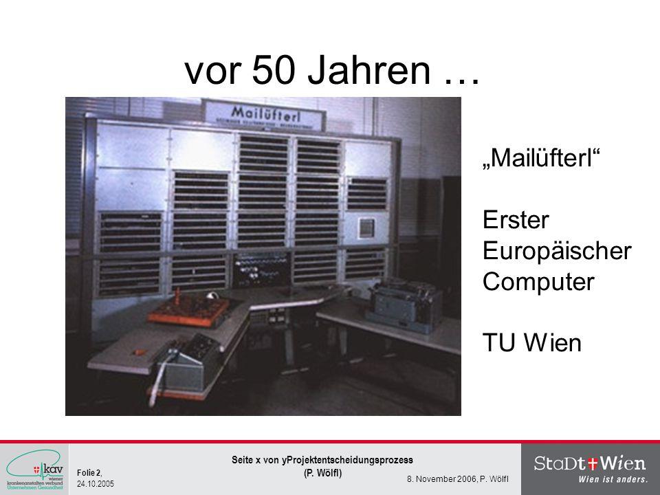 Folie 2, 24.10.2005 Seite x von yProjektentscheidungsprozess (P. Wölfl) 8. November 2006, P. Wölfl vor 50 Jahren … Mailüfterl Erster Europäischer Comp