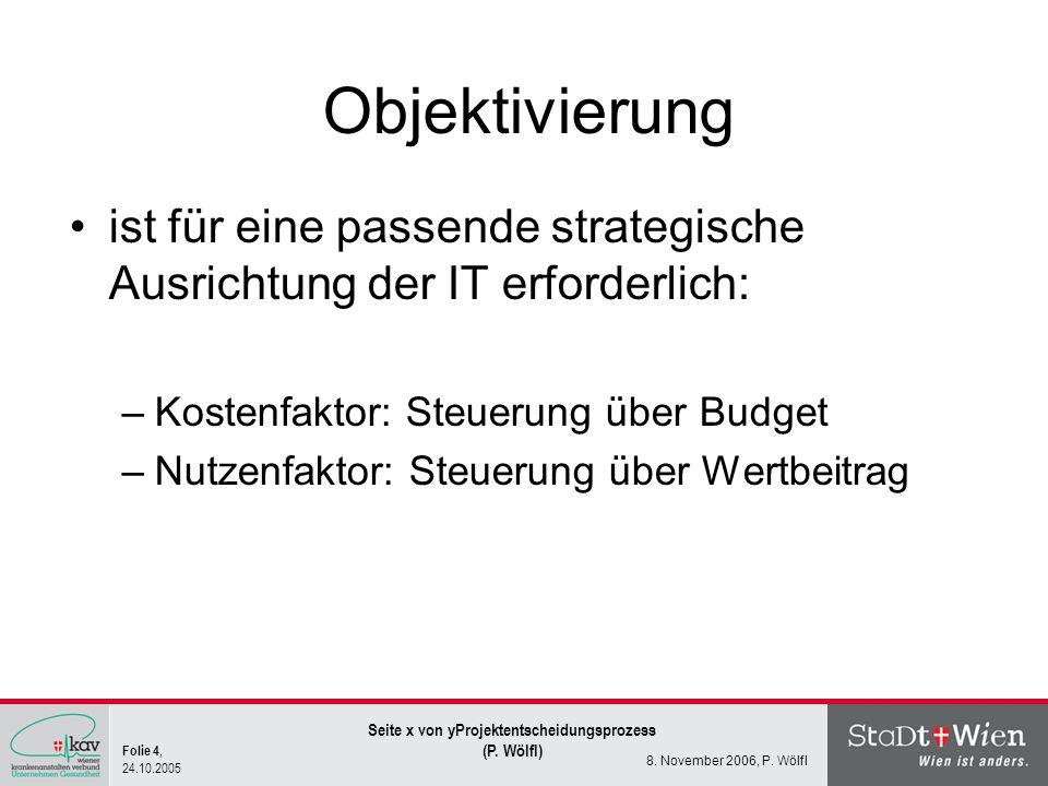 Folie 4, 24.10.2005 Seite x von yProjektentscheidungsprozess (P. Wölfl) 8. November 2006, P. Wölfl Objektivierung ist für eine passende strategische A