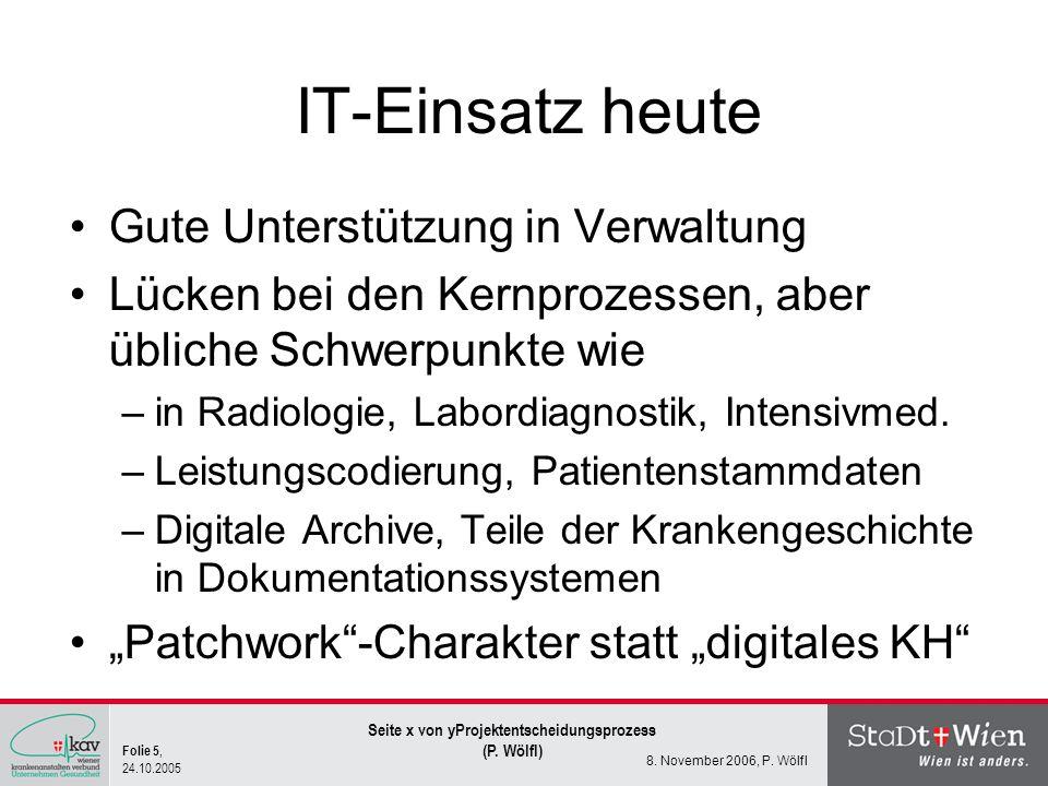 Folie 5, 24.10.2005 Seite x von yProjektentscheidungsprozess (P. Wölfl) 8. November 2006, P. Wölfl IT-Einsatz heute Gute Unterstützung in Verwaltung L