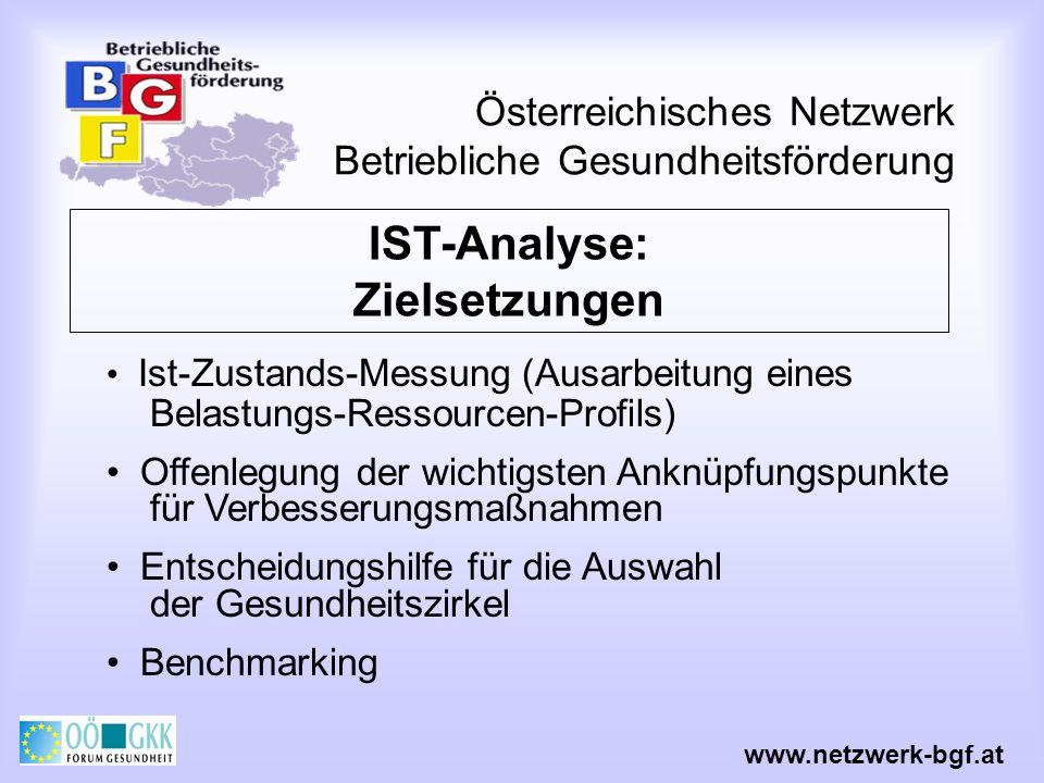 Österreichisches Netzwerk Betriebliche Gesundheitsförderung www.netzwerk-bgf.at IST-Analyse: Zielsetzungen Ist-Zustands-Messung (Ausarbeitung eines Be