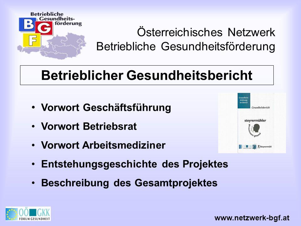 Österreichisches Netzwerk Betriebliche Gesundheitsförderung www.netzwerk-bgf.at Betrieblicher Gesundheitsbericht Vorwort Geschäftsführung Vorwort Betr