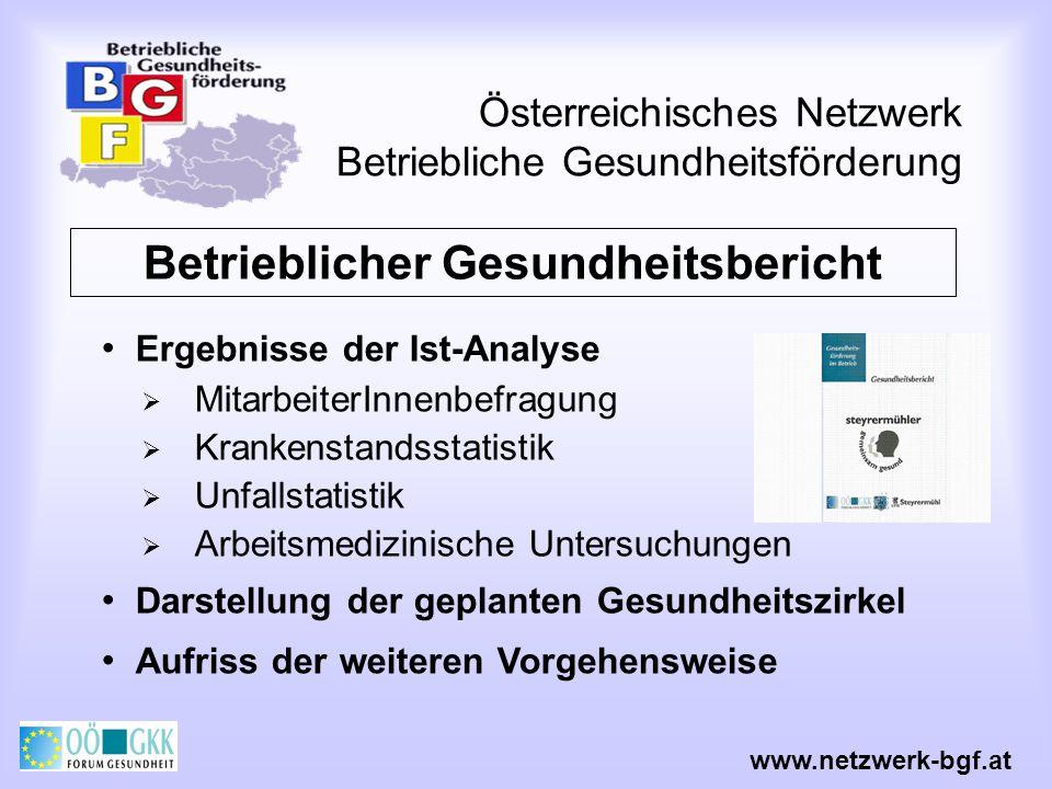 Österreichisches Netzwerk Betriebliche Gesundheitsförderung www.netzwerk-bgf.at Betrieblicher Gesundheitsbericht Ergebnisse der Ist-Analyse Mitarbeite