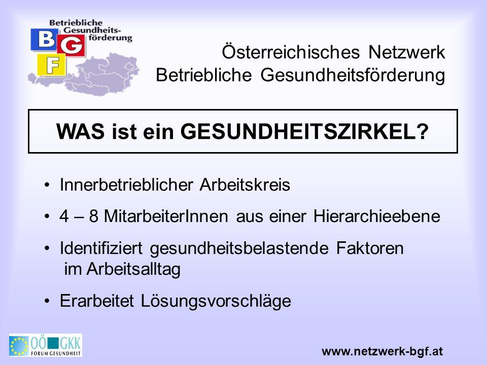 Österreichisches Netzwerk Betriebliche Gesundheitsförderung WAS ist ein GESUNDHEITSZIRKEL? Innerbetrieblicher Arbeitskreis 4 – 8 MitarbeiterInnen aus