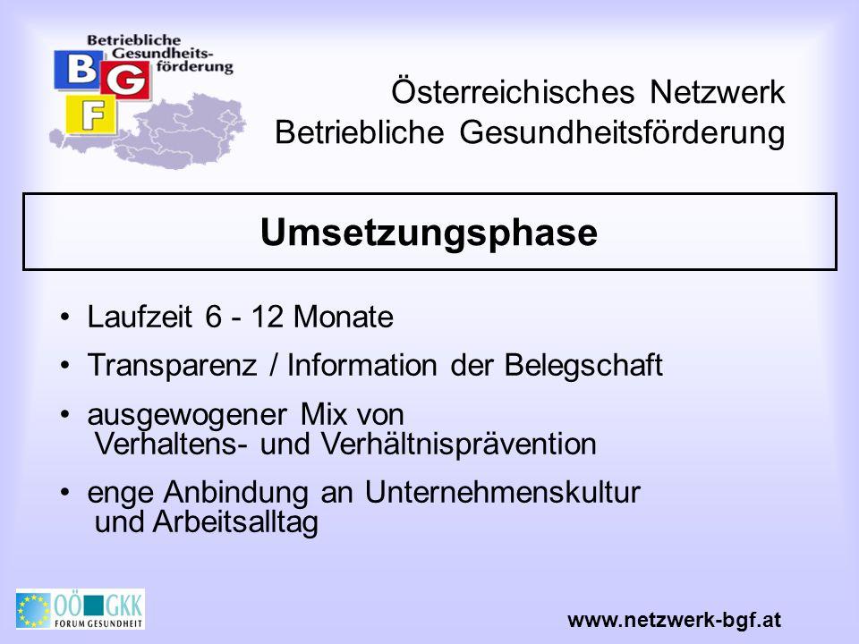 Österreichisches Netzwerk Betriebliche Gesundheitsförderung Umsetzungsphase www.netzwerk-bgf.at Laufzeit 6 - 12 Monate Transparenz / Information der B