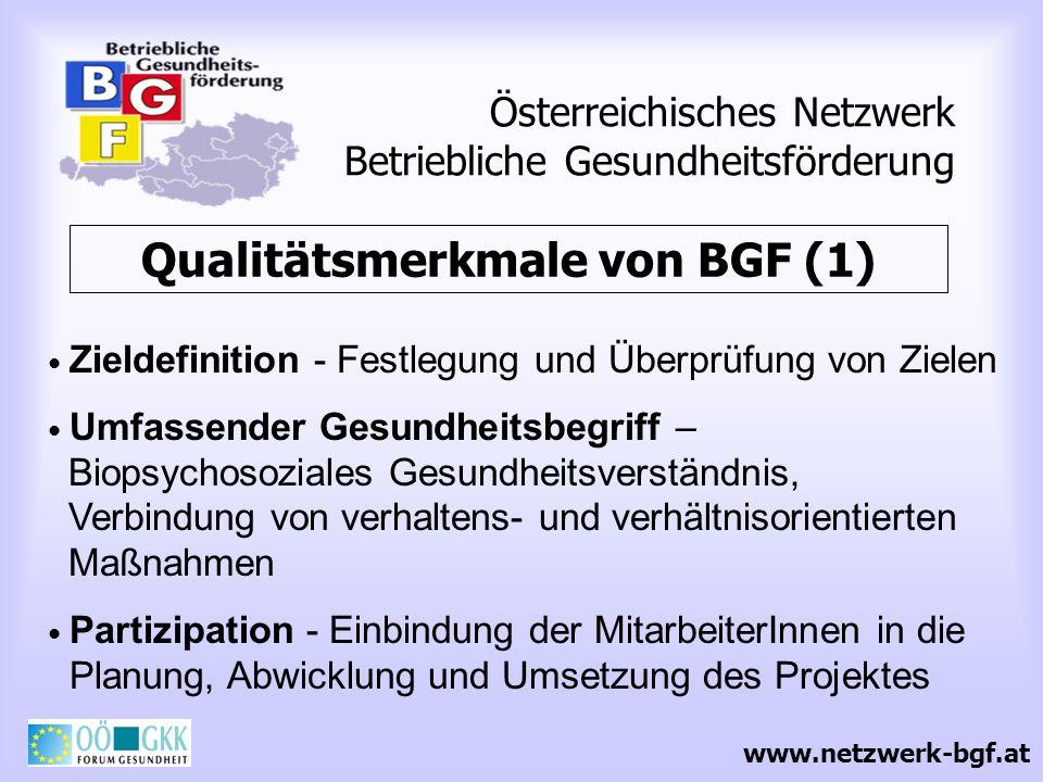 Österreichisches Netzwerk Betriebliche Gesundheitsförderung Qualitätsmerkmale von BGF (1) Zieldefinition - Festlegung und Überprüfung von Zielen Umfas