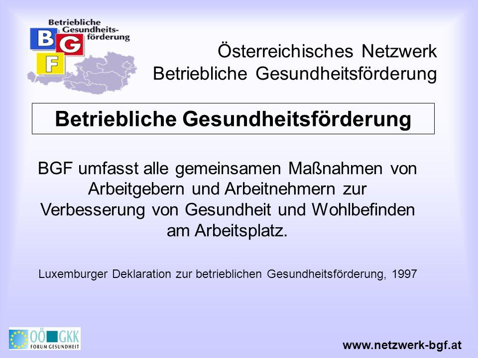 Österreichisches Netzwerk Betriebliche Gesundheitsförderung Betriebliche Gesundheitsförderung Beinhaltet Maßnahmen zur Verbesserung der Arbeitsorganisation und der Arbeitsbedingungen Förderung einer aktiven MitarbeiterInnenbeteiligung Stärkung persönlicher Kompetenzen Luxemburger Deklaration zur betrieblichen Gesundheitsförderung, 1997 www.netzwerk-bgf.at