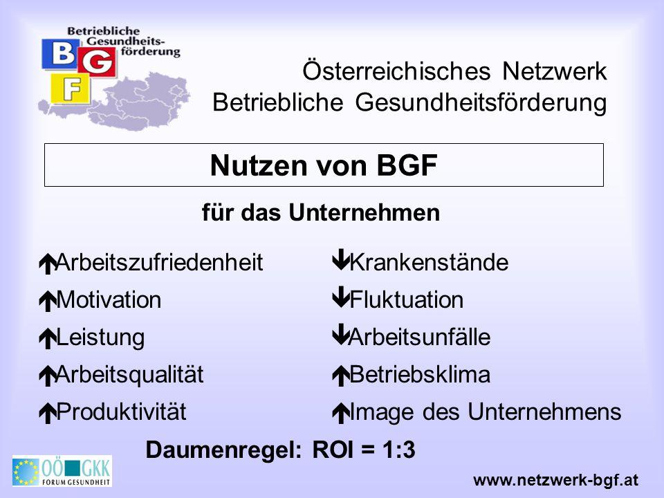 Österreichisches Netzwerk Betriebliche Gesundheitsförderung Nutzen von BGF Arbeitszufriedenheit Motivation Leistung Arbeitsqualität Produktivität www.