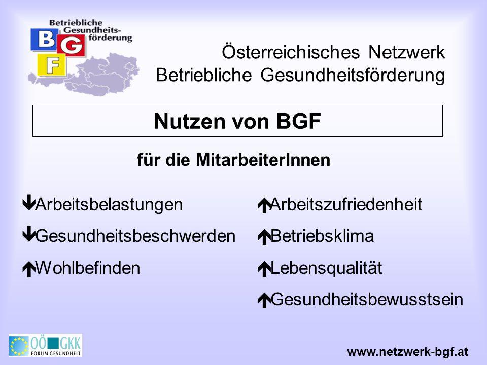 Österreichisches Netzwerk Betriebliche Gesundheitsförderung Arbeitsbelastungen Gesundheitsbeschwerden Wohlbefinden Nutzen von BGF www.netzwerk-bgf.at