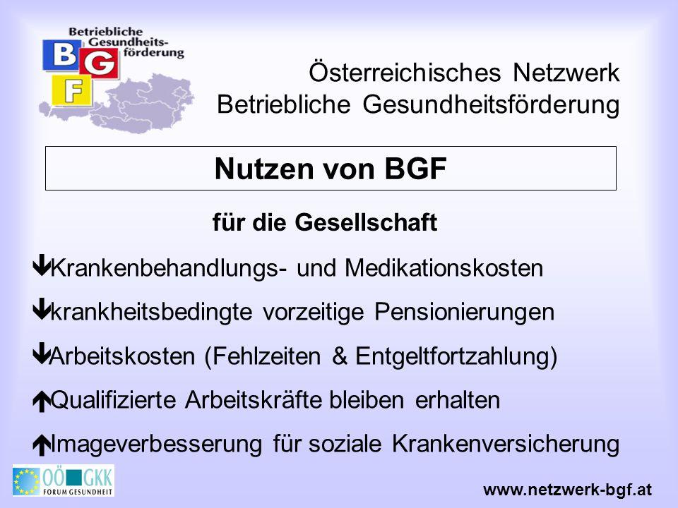 Österreichisches Netzwerk Betriebliche Gesundheitsförderung Krankenbehandlungs- und Medikationskosten krankheitsbedingte vorzeitige Pensionierungen Ar