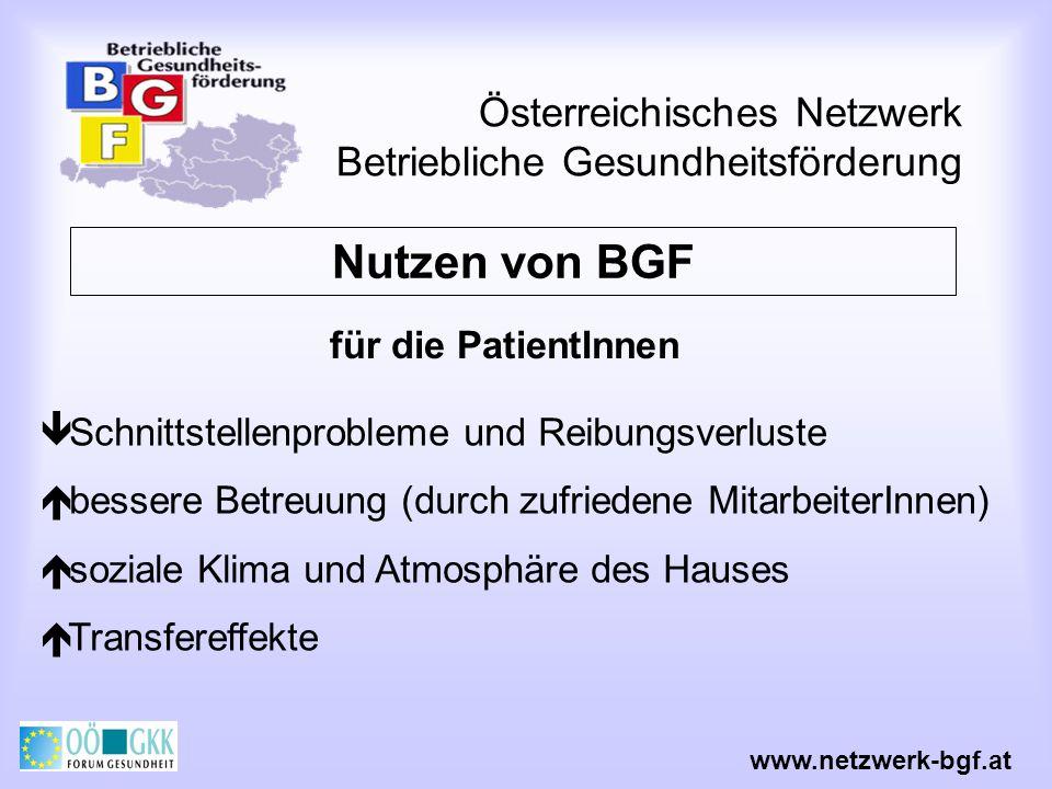 Österreichisches Netzwerk Betriebliche Gesundheitsförderung www.netzwerk-bgf.at Abschlussbericht Darstellung des Projektverlaufes Durchgeführte Verbesserungs- maßnahmen Ergebnisse der Erfolgskontrolle Ausblick auf das weitere Vorgehen
