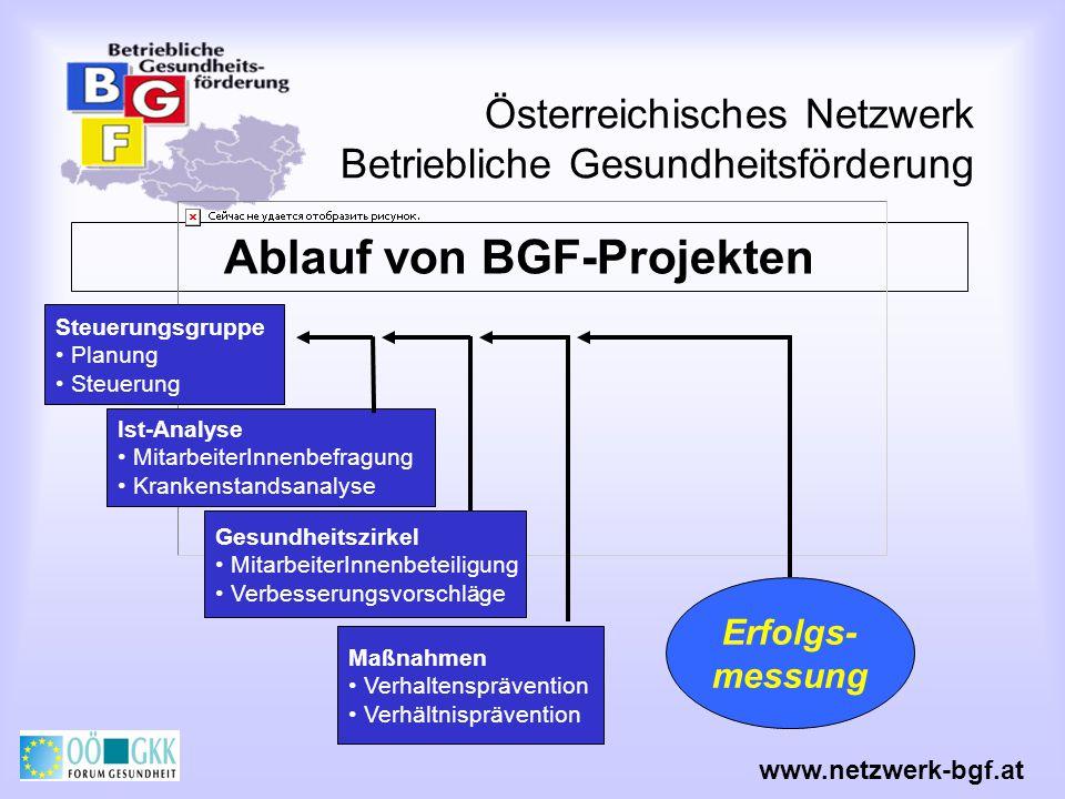 Österreichisches Netzwerk Betriebliche Gesundheitsförderung Ablauf von BGF-Projekten Steuerungsgruppe Planung Steuerung Ist-Analyse MitarbeiterInnenbe