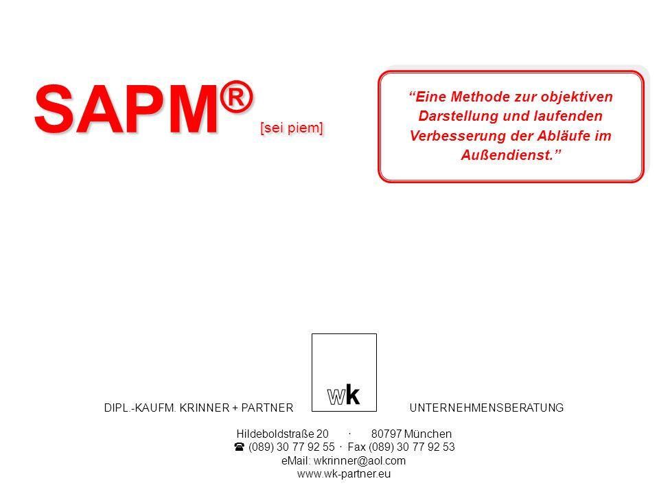 SAPM ® [sei piem] DIPL.-KAUFM. KRINNER + PARTNER UNTERNEHMENSBERATUNG Hildeboldstraße 20. 80797 München (089) 30 77 92 55. Fax (089) 30 77 92 53 eMail