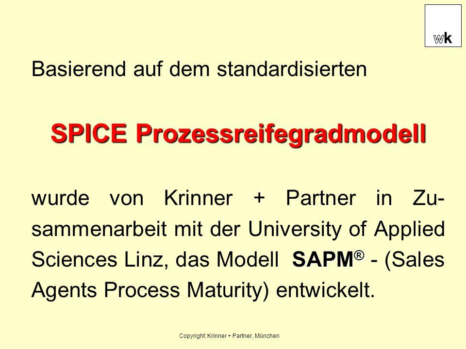 Basierend auf dem standardisierten SPICE Prozessreifegradmodell SAPM ® wurde von Krinner + Partner in Zu- sammenarbeit mit der University of Applied S