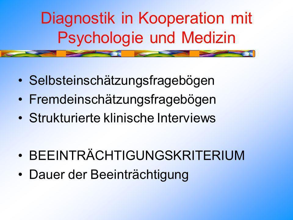 Diagnostik in Kooperation mit Psychologie und Medizin Selbsteinschätzungsfragebögen Fremdeinschätzungsfragebögen Strukturierte klinische Interviews BEEINTRÄCHTIGUNGSKRITERIUM Dauer der Beeinträchtigung