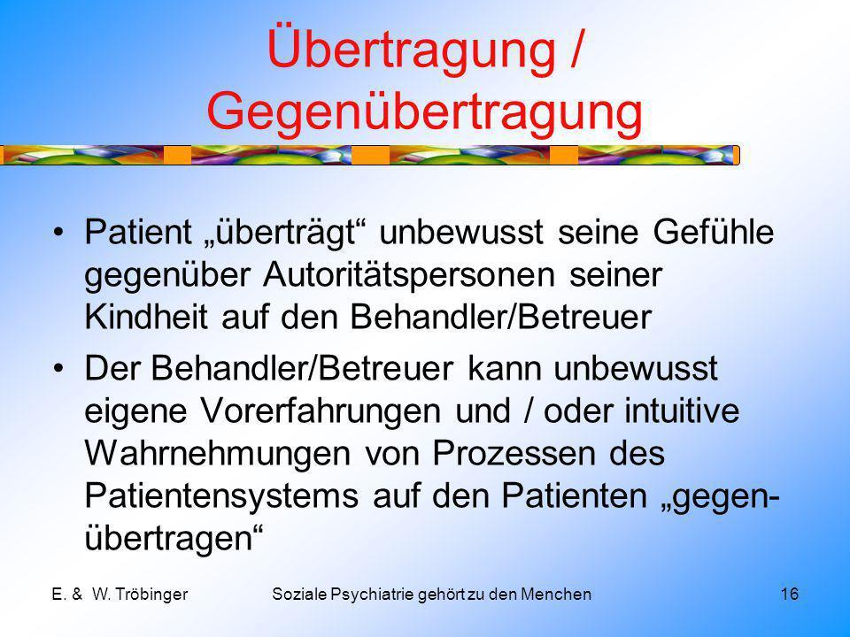 Übertragung / Gegenübertragung Patient überträgt unbewusst seine Gefühle gegenüber Autoritätspersonen seiner Kindheit auf den Behandler/Betreuer Der Behandler/Betreuer kann unbewusst eigene Vorerfahrungen und / oder intuitive Wahrnehmungen von Prozessen des Patientensystems auf den Patienten gegen- übertragen E.