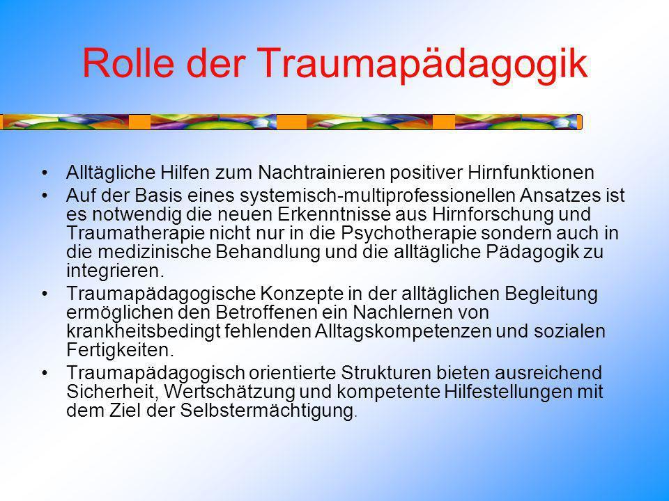 Rolle der Traumapädagogik Alltägliche Hilfen zum Nachtrainieren positiver Hirnfunktionen Auf der Basis eines systemisch-multiprofessionellen Ansatzes ist es notwendig die neuen Erkenntnisse aus Hirnforschung und Traumatherapie nicht nur in die Psychotherapie sondern auch in die medizinische Behandlung und die alltägliche Pädagogik zu integrieren.