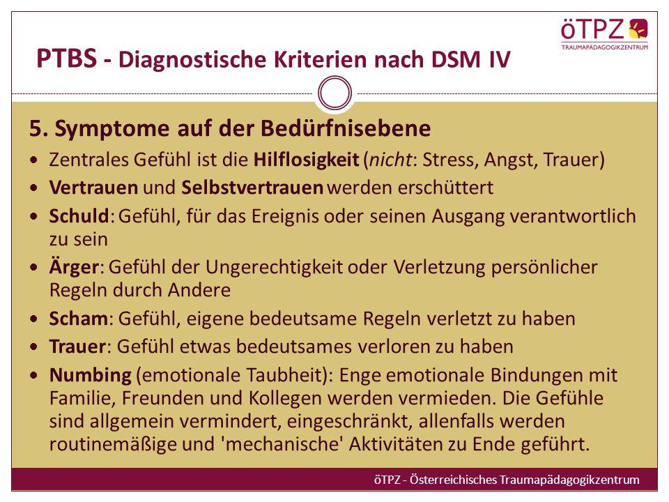 PTBS - Diagnostische Kriterien nach DSM IV 5.