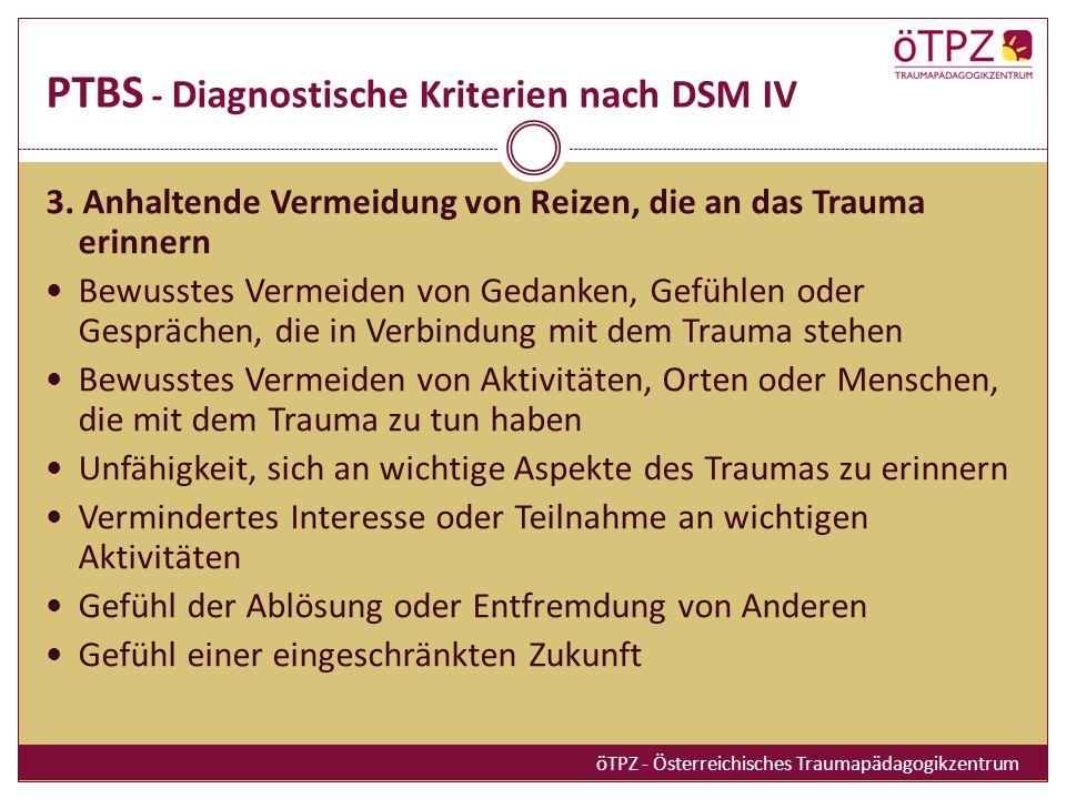 PTBS - Diagnostische Kriterien nach DSM IV 3.