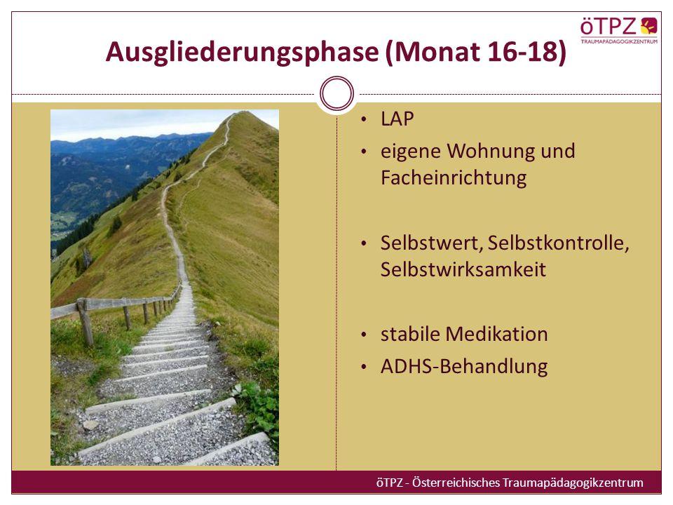 Ausgliederungsphase (Monat 16-18) LAP eigene Wohnung und Facheinrichtung Selbstwert, Selbstkontrolle, Selbstwirksamkeit stabile Medikation ADHS-Behand