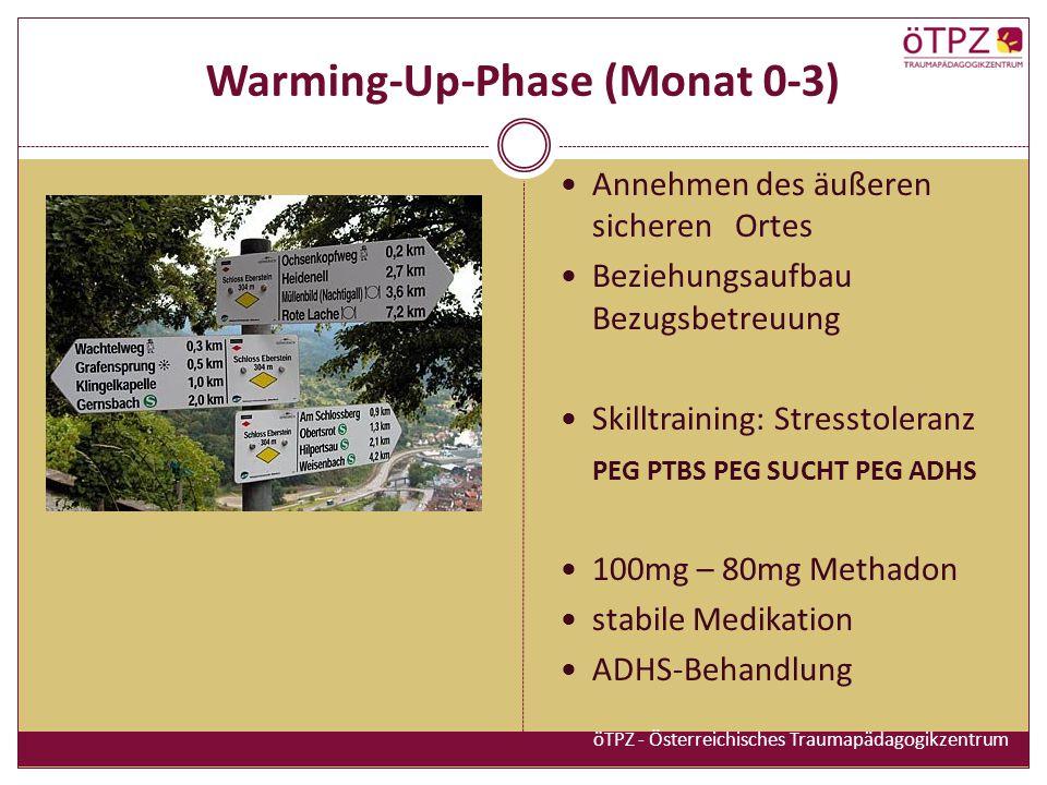Warming-Up-Phase (Monat 0-3) Annehmen des äußeren sicheren Ortes Beziehungsaufbau Bezugsbetreuung Skilltraining: Stresstoleranz PEG PTBS PEG SUCHT PEG