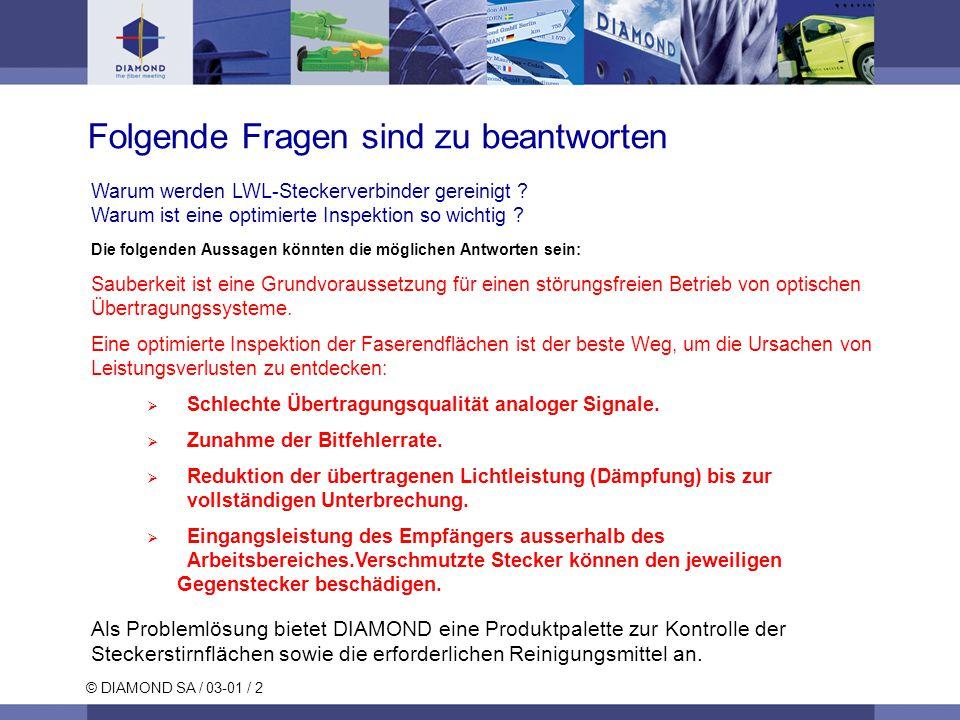 © DIAMOND SA / 03-01 / 2 Warum werden LWL-Steckerverbinder gereinigt .