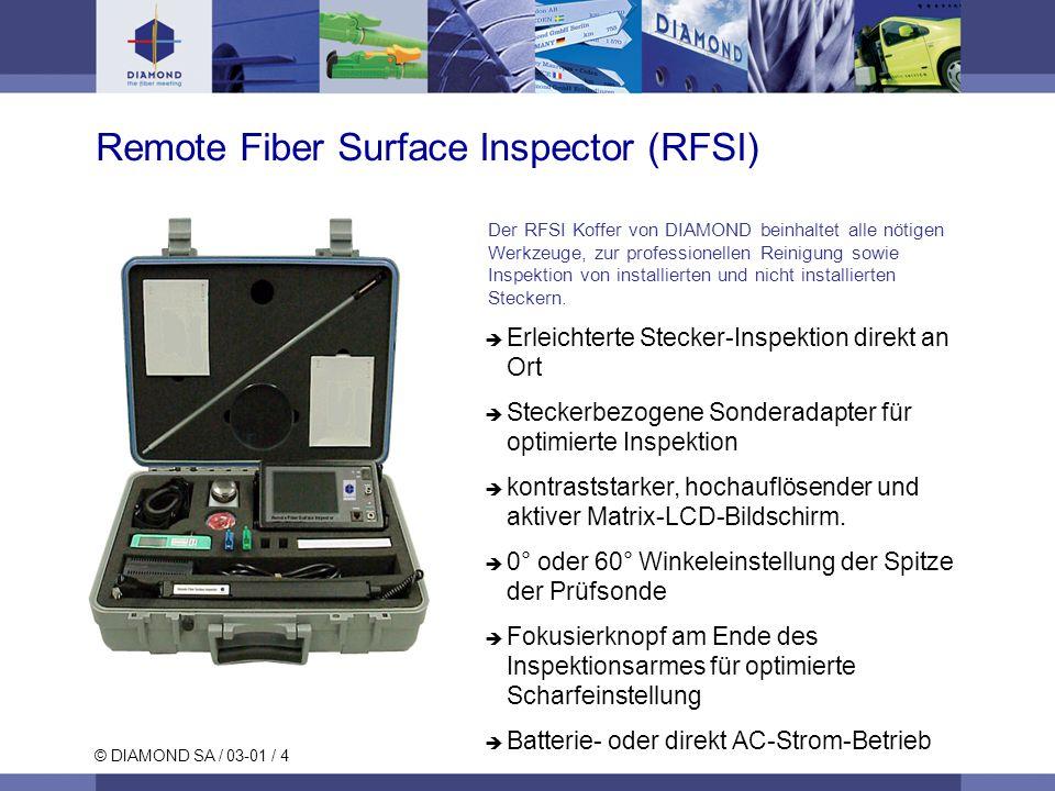 © DIAMOND SA / 03-01 / 4 Erleichterte Stecker-Inspektion direkt an Ort Steckerbezogene Sonderadapter für optimierte Inspektion kontraststarker, hochauflösender und aktiver Matrix-LCD-Bildschirm.