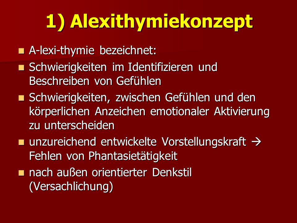 1) Alexithymiekonzept A-lexi-thymie bezeichnet: A-lexi-thymie bezeichnet: Schwierigkeiten im Identifizieren und Beschreiben von Gefühlen Schwierigkeit