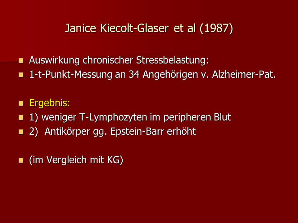 Janice Kiecolt-Glaser et al (1987) Auswirkung chronischer Stressbelastung: Auswirkung chronischer Stressbelastung: 1-t-Punkt-Messung an 34 Angehörigen