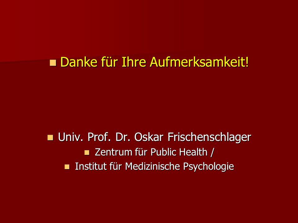 Danke für Ihre Aufmerksamkeit! Danke für Ihre Aufmerksamkeit! Univ. Prof. Dr. Oskar Frischenschlager Univ. Prof. Dr. Oskar Frischenschlager Zentrum fü