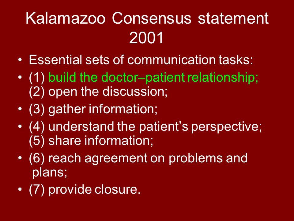 TORONTO CONSENSUS STATEMENT 3 GRUNDREGELN ZUR VERBESSERUNG DER KOMMUNIKATION MIT PATIENTiNNEN Ermutigen, Bedenken zu äußern Wahrnehmung für Krankheit