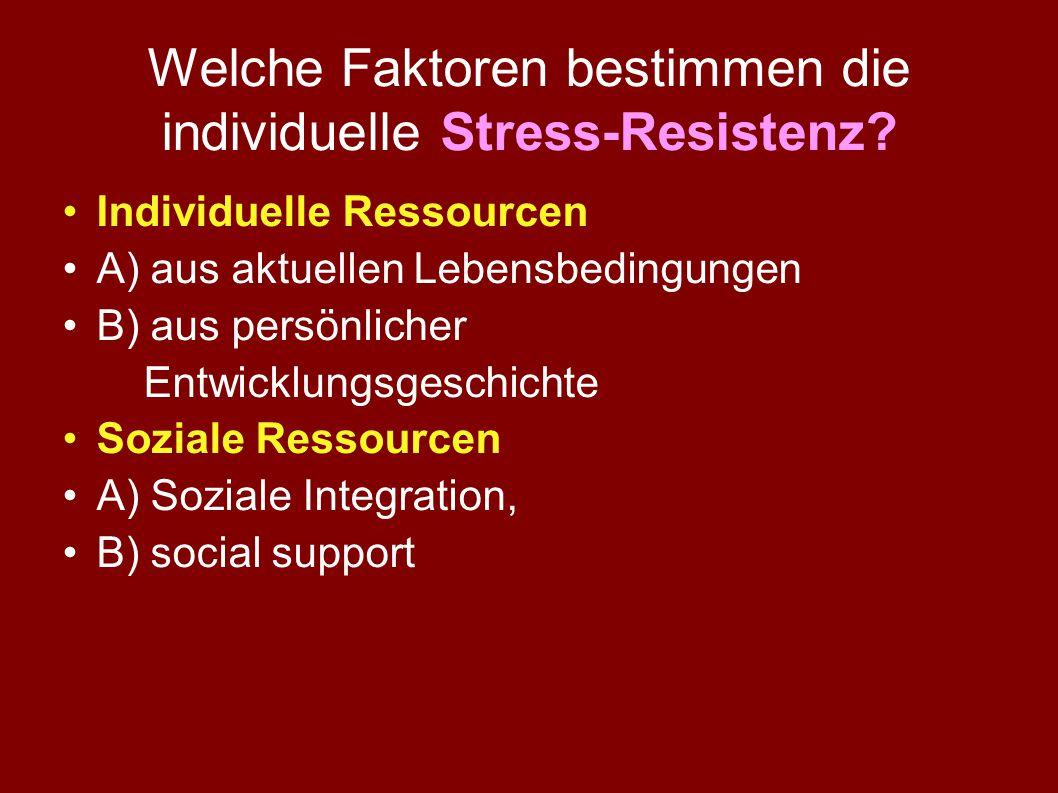 Stressmodell von Lazarus Situation Person Wahrnehmung Interpretation Kann ich mit meinen Ressourcen diesen Stressor bewältigen ? JaNein Adäquates Copi