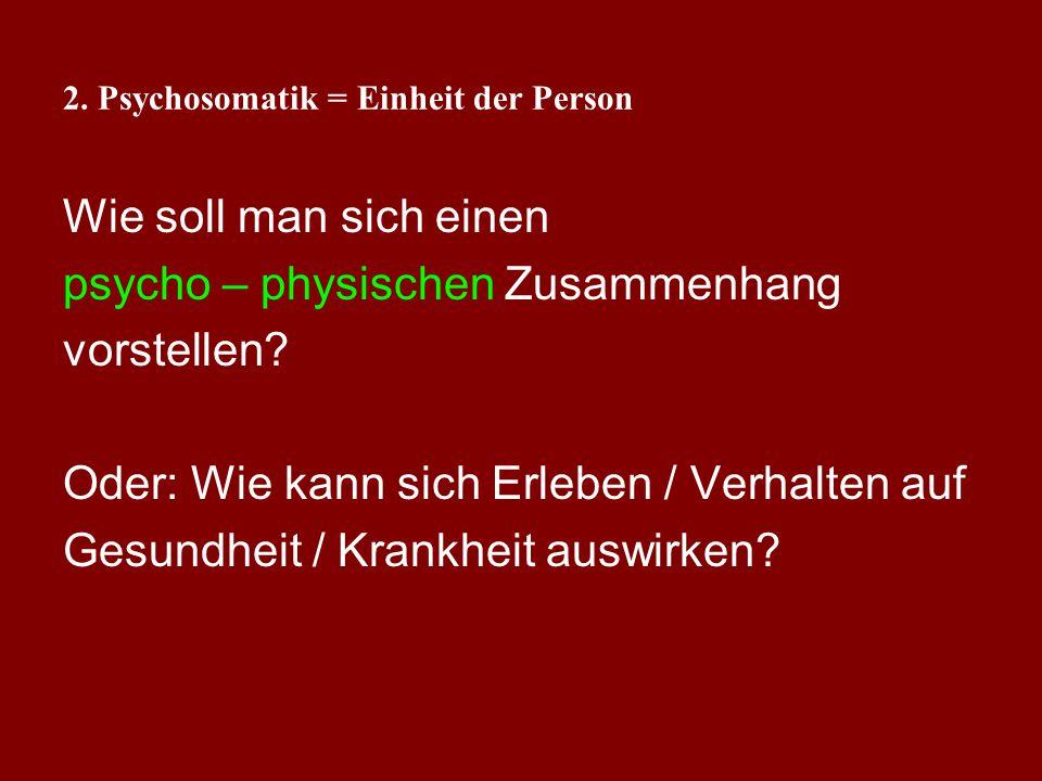2. Psychosomatik = Einheit der Person Mortalität nach Herzinfarkt (Orth-Gomer u. Unden (1990): Methode: prospektive Untersuchung, 150 Männer follow-up